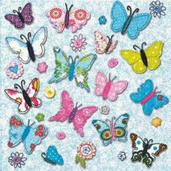 Lunch-Servietten 33x33 cm handgemachte Schmetterlinge