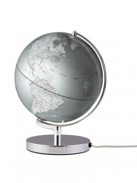 Globus Höhe 300mm Farbe helles silber beleuchtet