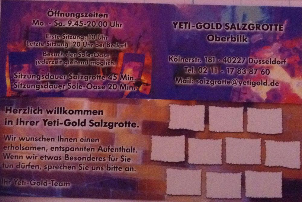 10 Eintritte Salzgrotte YETIGOLD Düsseldorf plus Bonus