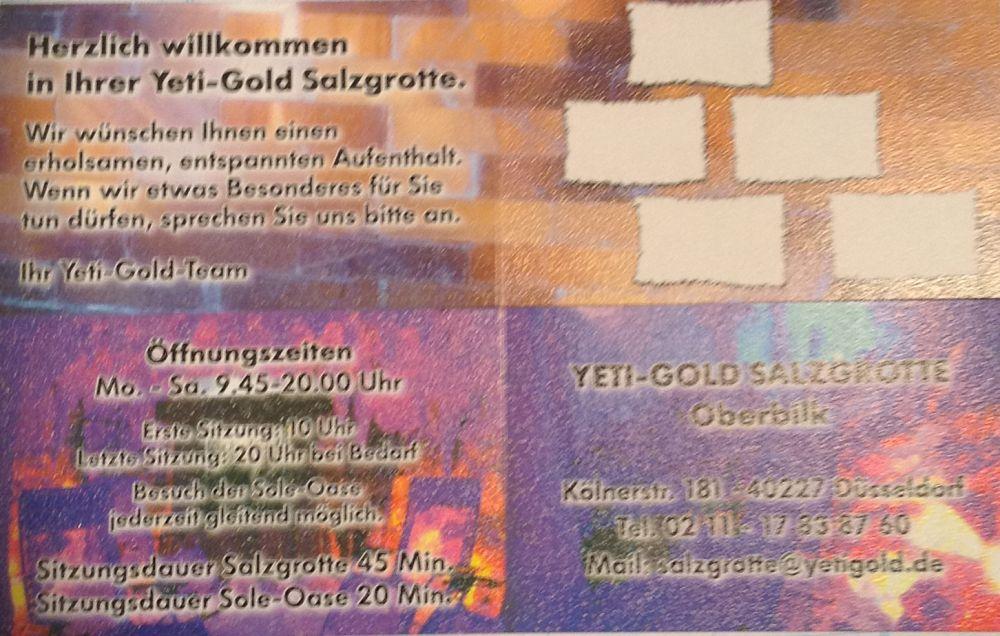 5 Eintritte Soleoase in Salzgrotte YETIGOLD Düsseldorf