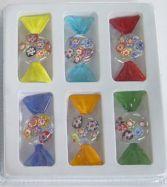 Set mit 6 Glasbonbons mit Blumendekor