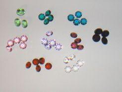 Set mit 5 Mini Glasdiamanten 12-14mm farbig transparent