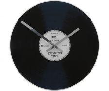 Nextime - Wanduhr, Ø 43, Motiv: silberne Schallplatte, Material: