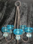Teelichtleuchter zum Hängen blau oder rot
